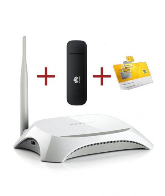 مودم همراه Irancell E3372 4G LTE + روتر TP-Link TL-MR3220